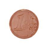 Het Euro Muntstuk van de chocolade Stock Afbeelding