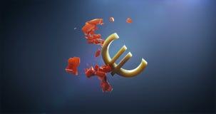 Het euro symbool breekt het Pondsymbool stock footage