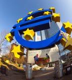 Het euro symbool voor de Europese Centrale Bank met bezet ca Stock Afbeeldingen
