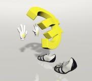 Het euro symboolkarakter duwen Stock Foto's