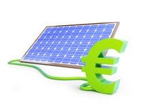 Het euro teken van het Sollarpaneel Stock Afbeelding