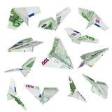 Het euro vliegtuig vliegen Stock Fotografie