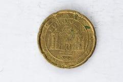 Het 20 Eurocentmuntstuk met Duits gebruikt achtereind ziet eruit Stock Afbeelding