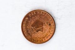Het 5 Eurocentmuntstuk met gebruikte het achtereind van Nederland ziet eruit Stock Afbeelding