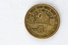 Het 50 Eurocentmuntstuk met gebruikte het achtereind van 2002 ziet eruit Royalty-vrije Stock Afbeeldingen