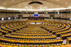Het Europees Parlement van vlaggenbrexit Europese Unie Brussel België Royalty-vrije Stock Foto's