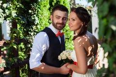 Het Europese bruid en bruidegom kussen in het park stock fotografie