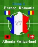 Het Europese voetbalkampioenschap 2016 groepeert A Stock Afbeeldingen