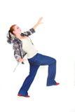 Het in evenwicht brengen van het meisje over wit Stock Fotografie