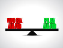Het evenwicht tussen het werk had en hard spel. concept vector illustratie