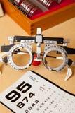 Het examenglazen en grafiek van het oog Stock Foto