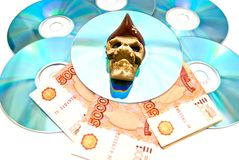 Het exemplaar van de piraterij van media op wit Stock Fotografie