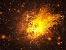 Het exploderen van Ster in Ruimte Stock Foto