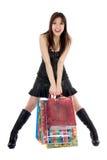 Het expressieve vrouw winkelen Royalty-vrije Stock Foto