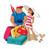 Het familiepaar gaat op een reis Stock Illustratie