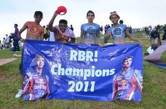 Het fanatieke Rennen van Red Bull van het ventilatorsF1 team Stock Afbeelding