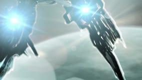 Het fantastische gevecht verscheept vliegen aan een onbekende planeet stock videobeelden