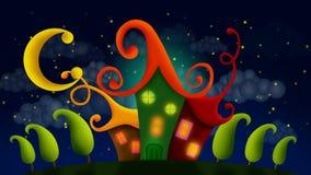 Het fantastische huis en de mooie nachthemel, beste lijn videoachtergrond voor wiegeliedjes om een baby te zetten gaan naar slaap stock illustratie
