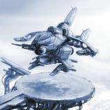 Het fantastische land van het gevechtsschip op een landend stootkussen Science fictionillustratie stock illustratie