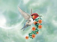 Het fantastische vogel vliegen royalty-vrije illustratie