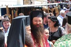 Het Feest van de Aankondiging in Nazareth in de Griekse Orthodoxe Kerk van de Aankondiging, die ook als de Kerk van St Gabrie wor stock fotografie