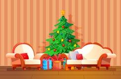 Het feestelijke binnenland van de Kerstmiswoonkamer, op vooravond van nieuw jaar vector illustratie
