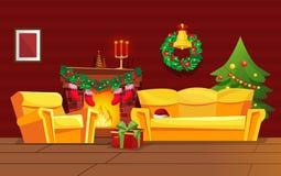 Het feestelijke binnenland van de Kerstmiswoonkamer, op vooravond van nieuw jaar stock illustratie