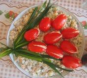 Het feestelijke dienen van salade Royalty-vrije Stock Afbeelding