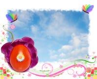 Het feestelijke frame van Pasen met rode ei en vlinders Stock Afbeeldingen