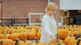 Het feestelijke winkelen Een jonge vrouw kiest een pompoen voor Halloween Zet de aankoop in de kar stock videobeelden