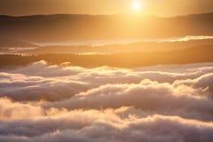 Het fenomeen van het de zomerweer Seizoengebonden landschap met ochtendmist in vallei Wolken doorweekte vallei onder het niveau v stock afbeelding