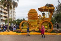 Het Festival 2018, Bollywood-Themakunst van de Mentoncitroen van citroenen en sinaasappelen wordt gemaakt die stock afbeeldingen