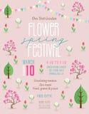 Het festival die van de bloemlente affichemalplaatje aankondigen royalty-vrije illustratie