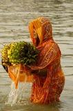 Het Festival van Chatt in India. Stock Afbeeldingen
