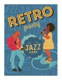 Het festival van de affichemuziek, retro partij in de stijl van de jaren '70, de jaren '80 Jazz Party De Afromusicus speelt de tr stock illustratie