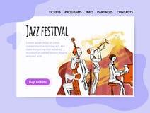 Het festival van de jazzmuziek, kwartet in overleg Vectorillutration, ontwerpmalplaatje van muziekplaats, kopbal, banner of affic stock illustratie