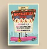 Het festival van de Rockabillymuziek of partij of de affiche van overlegpromo Vliegermalplaatje Uitstekende vectorillustratie royalty-vrije stock fotografie