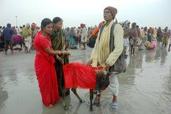 Het Festival van Gangasagar in India. Royalty-vrije Stock Foto's