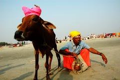 Het Festival van Gangasagar in India. Royalty-vrije Stock Fotografie