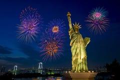 het festival van het de baaivuurwerk van Tokyo - het Vuurwerk viert over o royalty-vrije stock fotografie