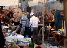 Het Festival van het straatvoedsel in Kiev, de Oekraïne Stock Foto's