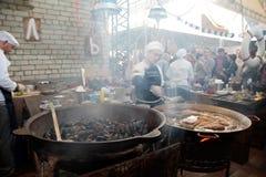 Het Festival van het straatvoedsel in Kyiv, de Oekraïne Royalty-vrije Stock Fotografie