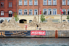 Het festival van het zandbeeldhouwwerk in Kopenhagen Stock Foto