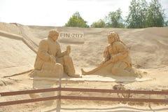 Het Festival van het zandbeeldhouwwerk in Lappeenranta stock foto