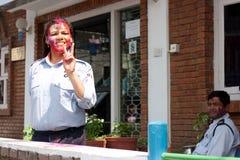 Het Festival van Holi (Festival van Kleuren) in Nepal Stock Foto's