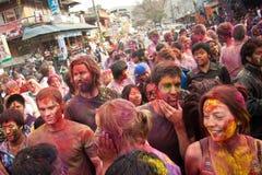 Het Festival van Holi (Festival van Kleuren) in Nepal Stock Afbeeldingen