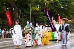 Het festival van Jidaimatsuri in Kyoto, Japan Stock Foto