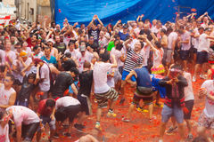 Het festival van La Tomatina Stock Foto
