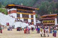 Het festival van Parotsechu in Bhutan stock afbeelding