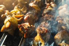 Het festival van het straat snelle voedsel, rundvlees en kippenkebab bij grill royalty-vrije stock foto